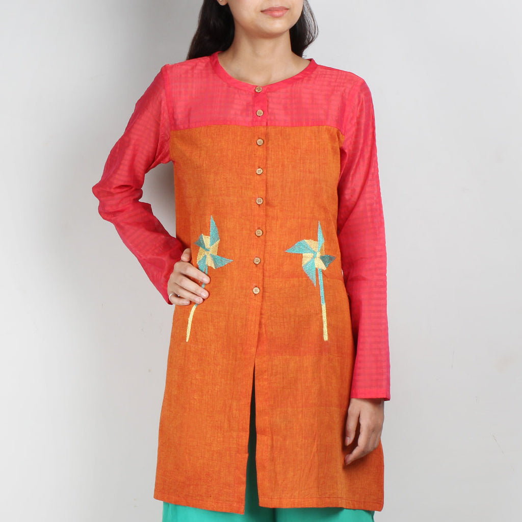Orange South Cotton Tunic with Buttons And Quirky Embroidery by ROUKA by Sreejith Jeevan
