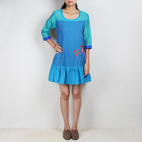 Blue Cotton Silk Tunic Dress by ROUKA by Sreejith Jeevan