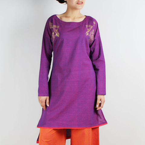 Cotton Embroidered Kimono Cut Top by ROUKA by Sreejith Jeevan