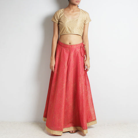 Red Chanderi Scarlet-Gold Khari Block Printed Ghaghra Choli by Roots studio