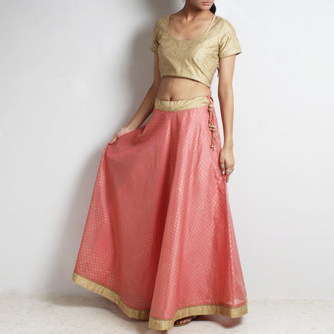 Chanderi Pink-Gold Khari Block Printed Ghaghra Choli by Roots studio
