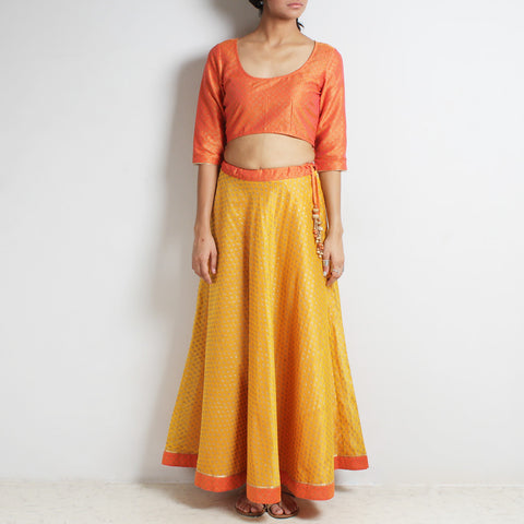 Chanderi Orange-Yellow Gold Khari Block Printed Ghaghra Choli by Roots studio