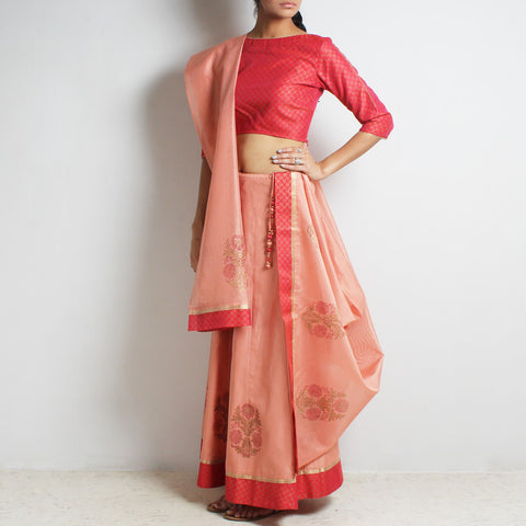 Chanderi Scarlet-Peach Gold Khari Block Printed Ghaghra Choli & Dupatta by Roots studio
