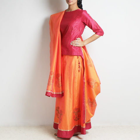 Chanderi Fuschia-Orange Gold Khari Block Printed Ghaghra Choli & Dupatta by Roots studio