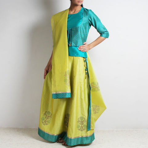Chanderi Teal-Lime Gold Khari Block Printed Ghaghra Choli & Dupatta by Roots studio