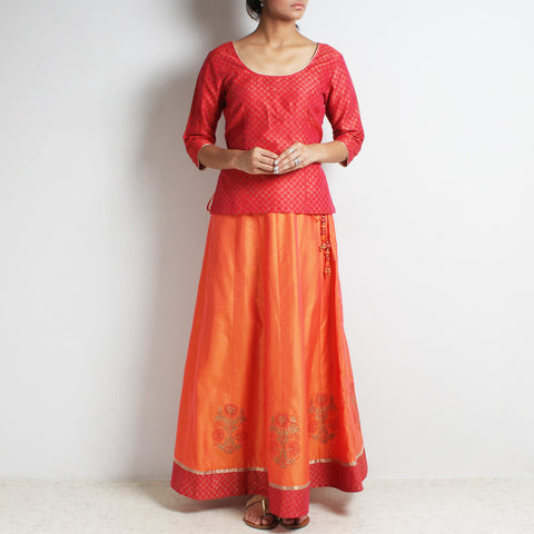 Chanderi Orange-Scarlet Gold Khari Block Printed Ghaghra Choli by Roots studio