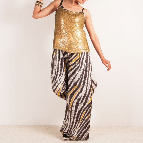 Jumpsuit with golden sequined spaghetti top by Silvermerc Designs