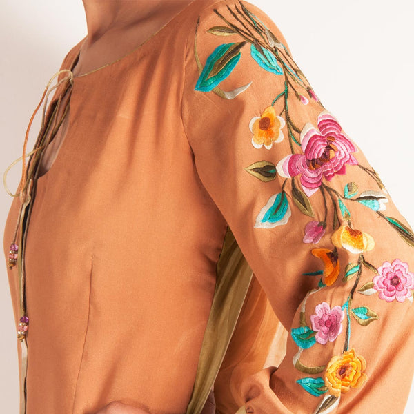 Salmon Tunic With Puffed Embroidered Sleeves