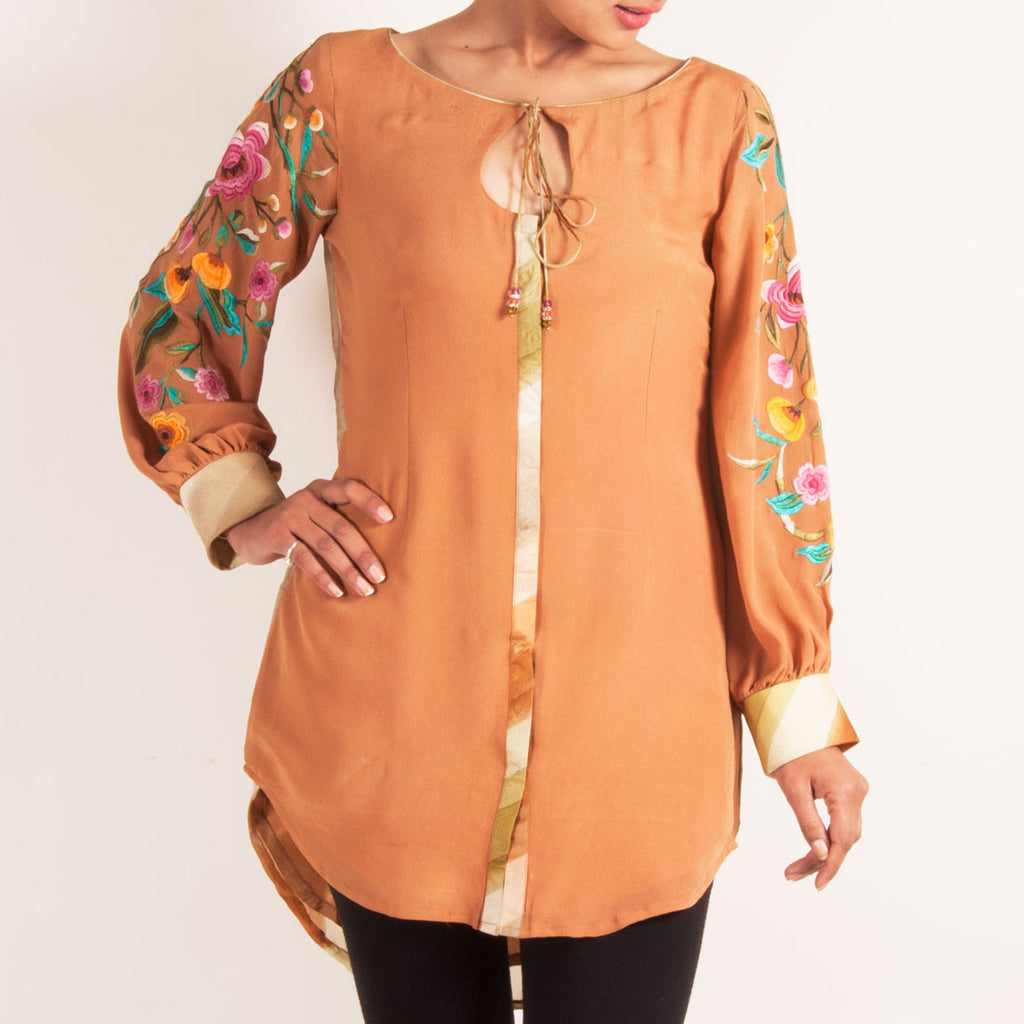 Salmon tunic with puffed embroidered sleeves by Silvermerc Designs