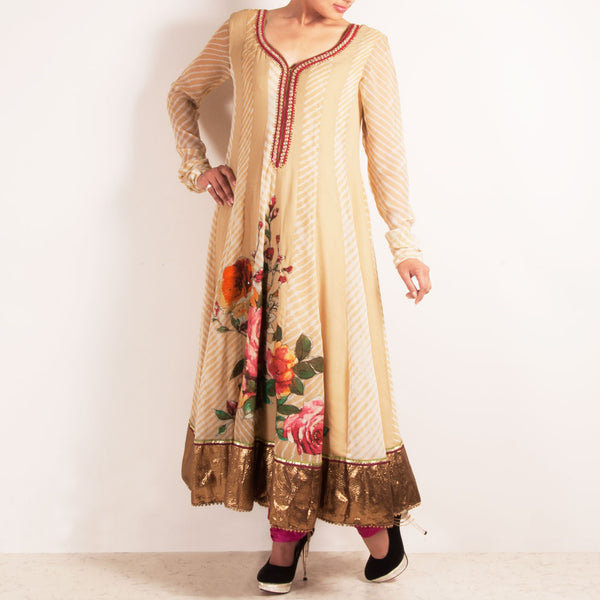 Beige Anarkali With Handpainted Flowers