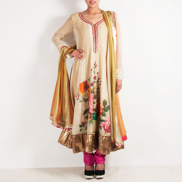Beige Anarkali with handpainted flowers by Silvermerc Designs