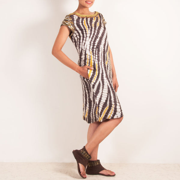 Brown & White Patterned Dress With Metallic Sleeves