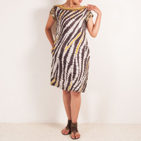 Brown & White Patterned Dress With Metallic Sleeves by Silvermerc Designs