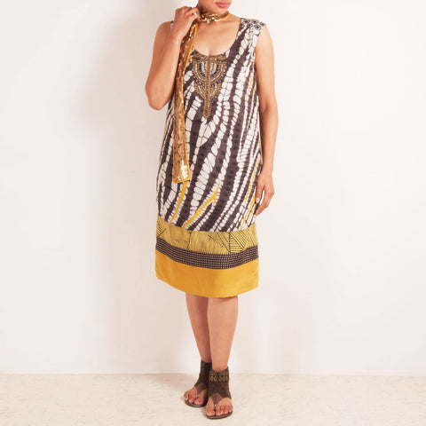 Brown & White Patterned Dress With Sequined Sash Stole by Silvermerc Designs