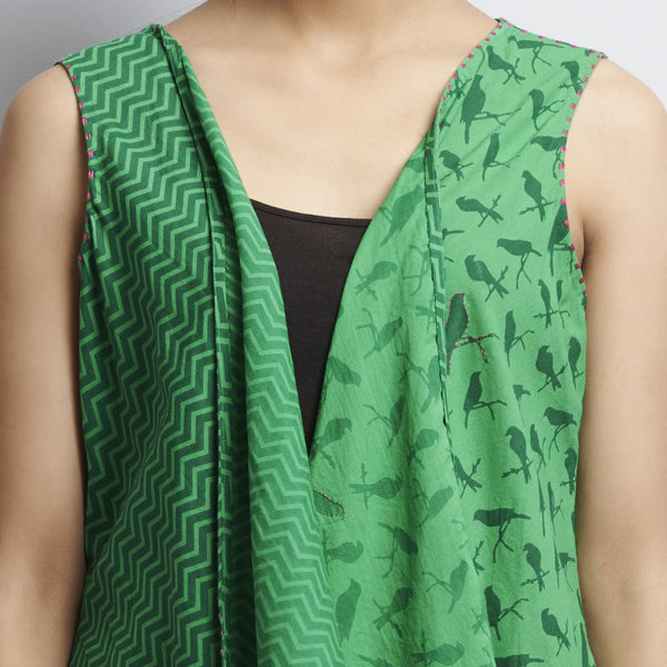 Mix & Match Green Print Cotton Shrug