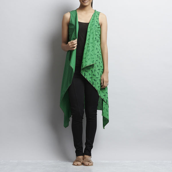 Mix & Match Green Print Cotton Shrug by Shilpa Madaan