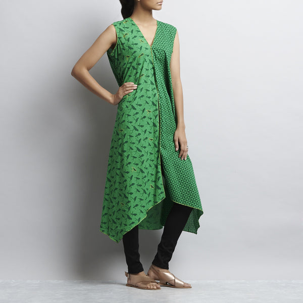 Green Hand Embroidered Mix & Match Print Long Overlap Cotton Shrug