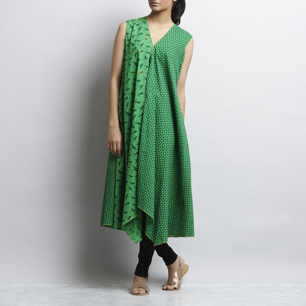Green Hand Embroidered Mix & Match Print Long Overlap Cotton Shrug by Shilpa Madaan
