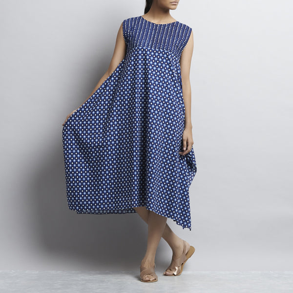 Blue Indigo Print Handkerchief Hemline Cotton Tunic