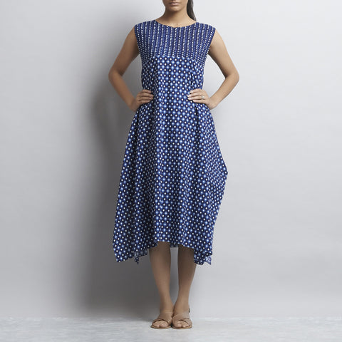 Blue Indigo Print Handkerchief Hemline Cotton Tunic by Shilpa Madaan