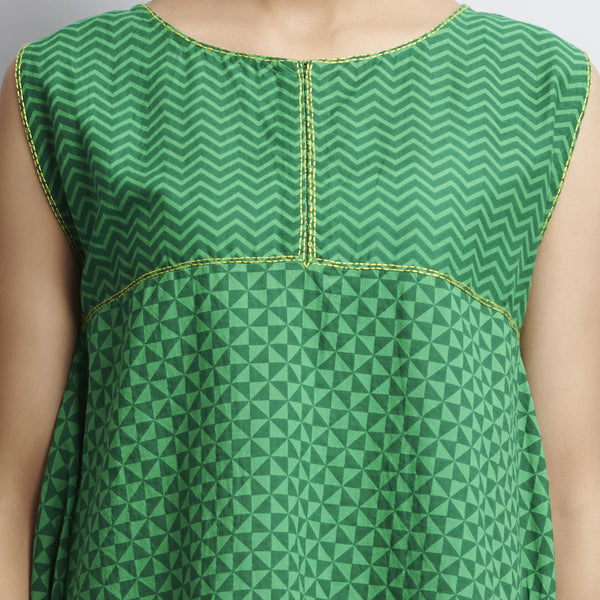 Green Rajasthani Print Hankerchief Hemline Cotton Tunic