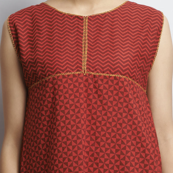 Red Rajasthani Print Hankerchief Hemline Cotton Tunic