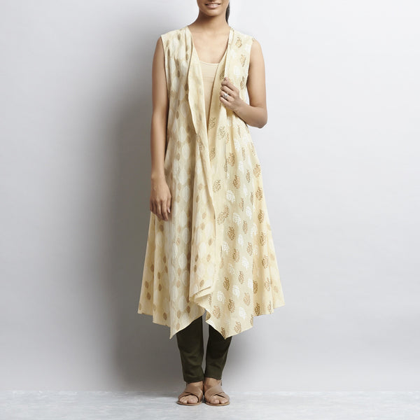 Beige Rajasthani Print Long Overlap Cotton Shrug