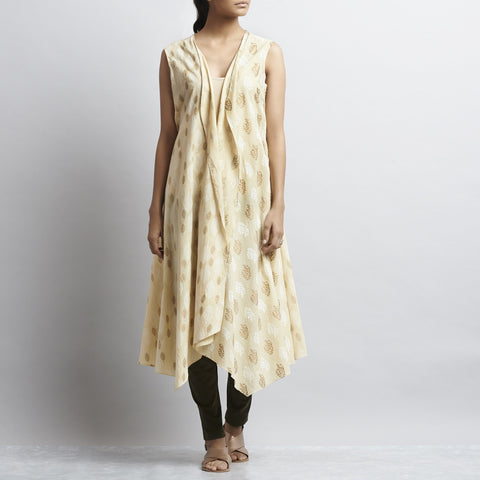 Beige Rajasthani Print Long Overlap Cotton Shrug by Shilpa Madaan