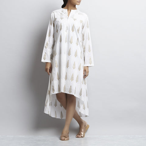 White Mix & Match Gold Khari Block Print Asymmetric Hem Cotton Kurta by Shilpa Madaan