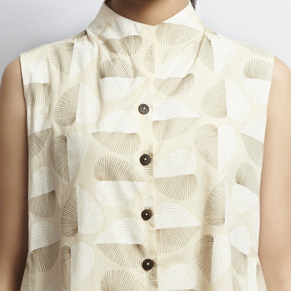 Beige Gold Khari Block Print All Over Leaf Asymmetric Tail Cut Cotton Tunic With Coconut Buttons