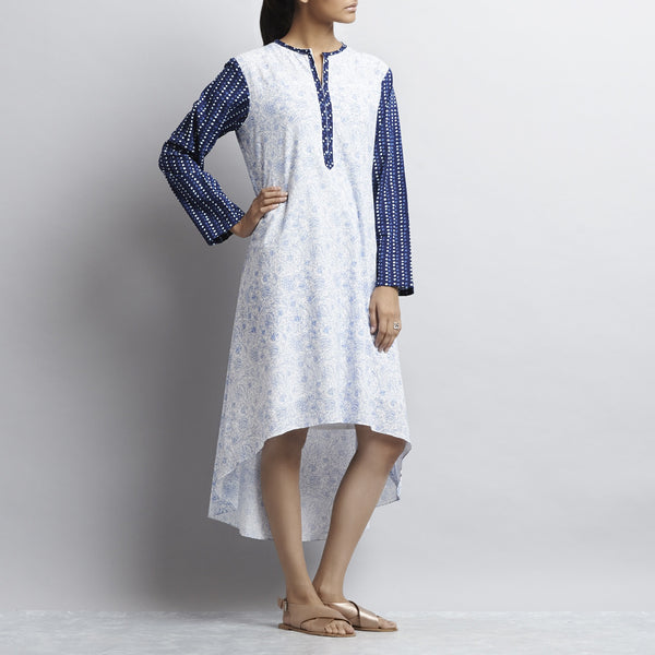 Blue & White Mix & Match Gold Khari Block Print Asymmetric Hem Cotton Kurta