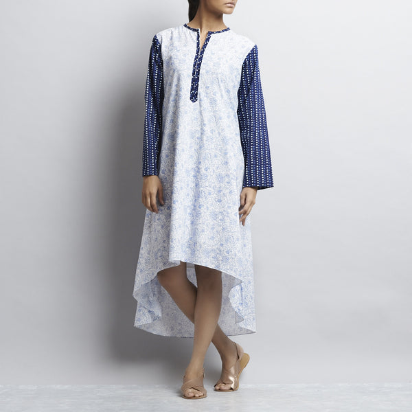 Blue & White Mix & Match Gold Khari Block Print Asymmetric Hem Cotton Kurta by Shilpa Madaan