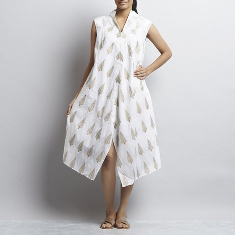 White Mix & Match Gold Khari Block Print New Tri Bias Cut Button Down Long Cotton Tunic by Shilpa Madaan