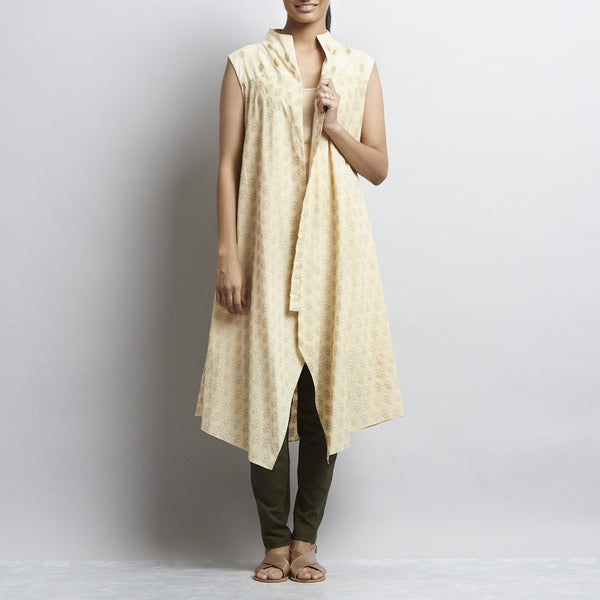 Beige Mix & Match Gold Kahdi Block Print New Tri Bias Cut Button Down Long Cotton Tunic