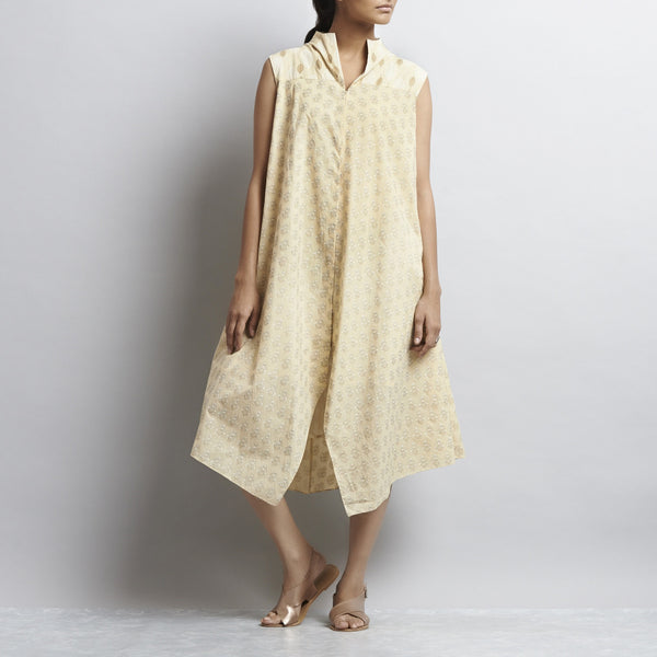 Beige Mix & Match Gold Kahdi Block Print New Tri Bias Cut Button Down Long Cotton Tunic by Shilpa Madaan