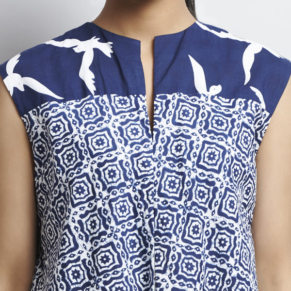Blue Mix & Match Block Print New Tri Bias Cut Button Down Long Cotton Tunic