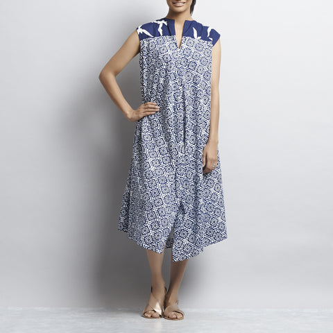 Blue Mix & Match Block Print New Tri Bias Cut Button Down Long Cotton Tunic by Shilpa Madaan