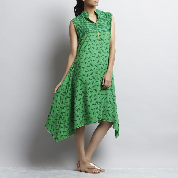 Green Mix & Match Print Short Hankerchief Cut Cotton Dress