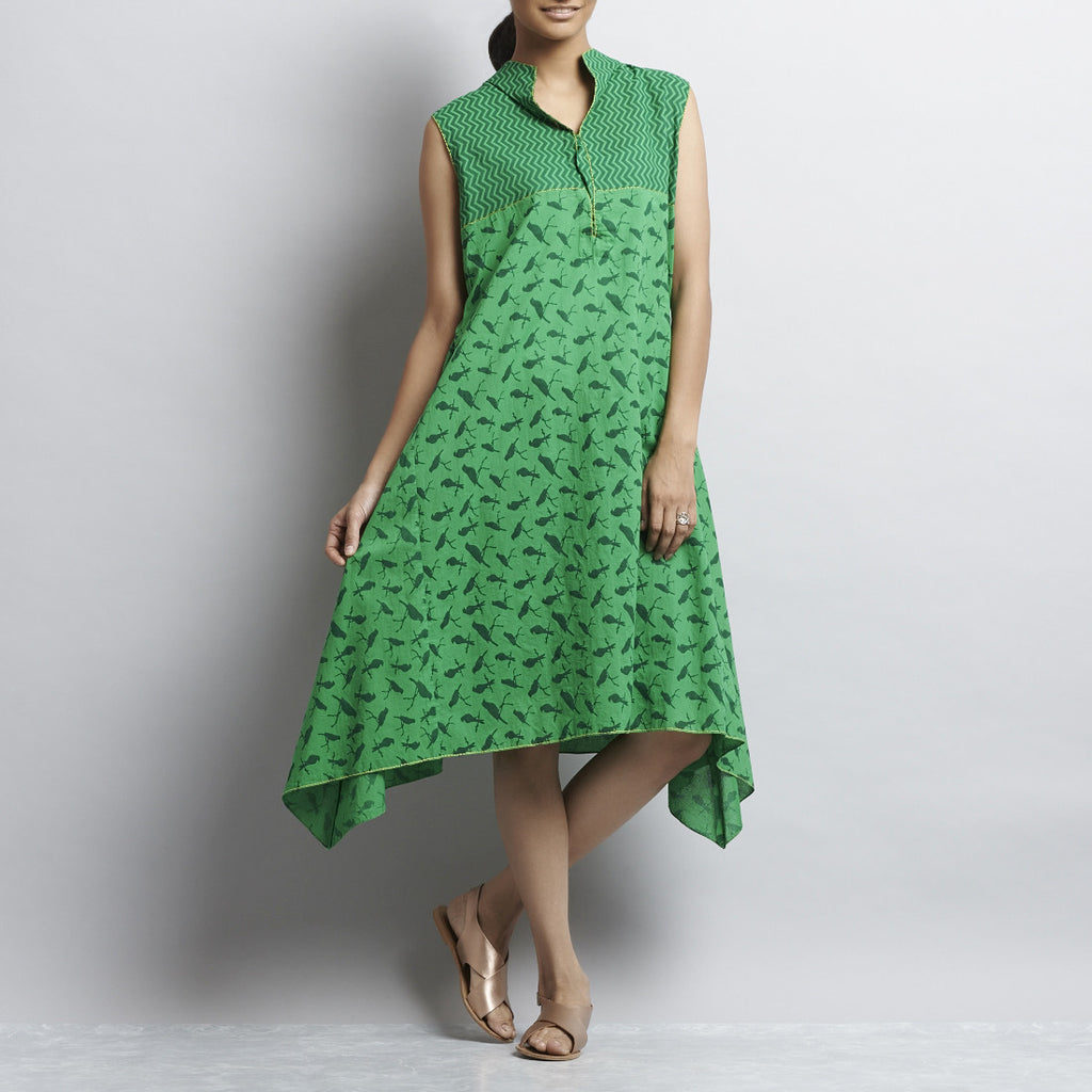 Green Mix & Match Print Short Hankerchief Cut Cotton Dress by Shilpa Madaan