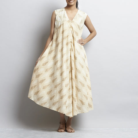 Beige Mix & Match Gold Khari Block Print New Tri Bias Cut Button Down Cotton Dress by Shilpa Madaan