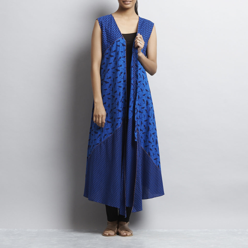 Blue Mix & Match Print New Tri Bias Cut Front Open Button Down Cotton Dress by Shilpa Madaan
