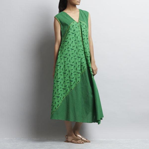 Green Mix & Match Print New Tri Bias Cut Front Open Button Down Cotton Dress