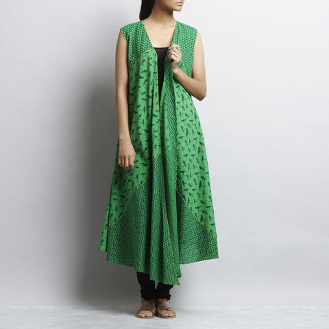 Green Mix & Match Print New Tri Bias Cut Front Open Button Down Cotton Dress by Shilpa Madaan