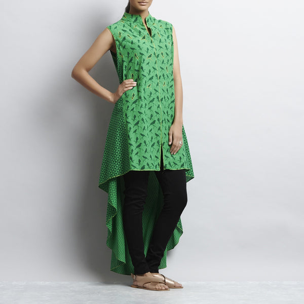 Green Mix & Match Print Asymmetric Tail Cut Long Cotton Tunic