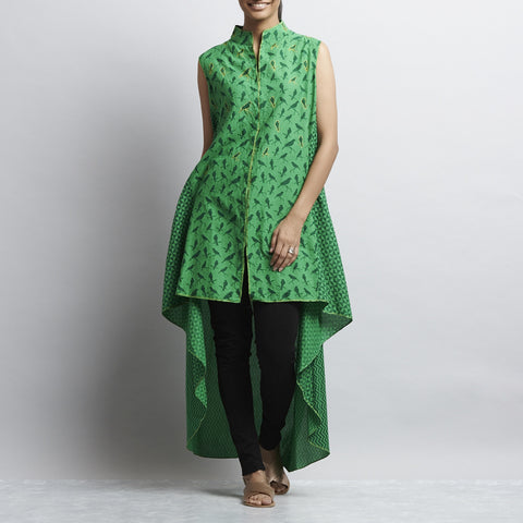 Green Mix & Match Print Asymmetric tail Cut Long Cotton Tunic by Shilpa Madaan