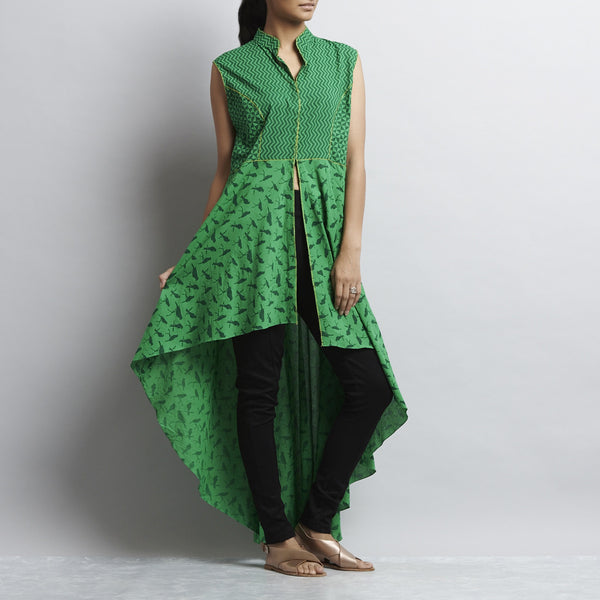 Green Mix & Match Print Hand Embroidered Princess Cut Asymmetric Hem Cotton Kurta