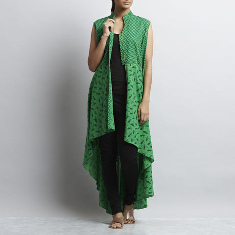 Green Mix & Match Print Hand embroidered Princess Cut Asymmetric Hem Cotton Kurta by Shilpa Madaan