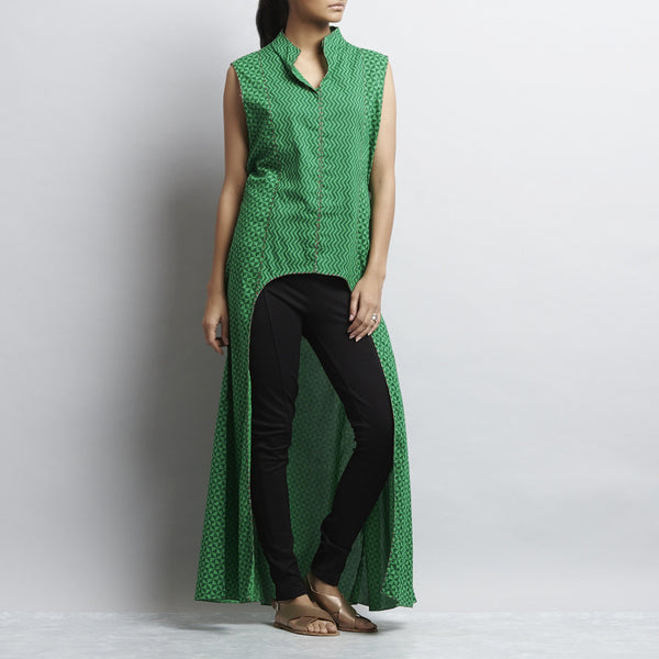 Green Crop Cut Button Down Front Open Long Cotton Tunic