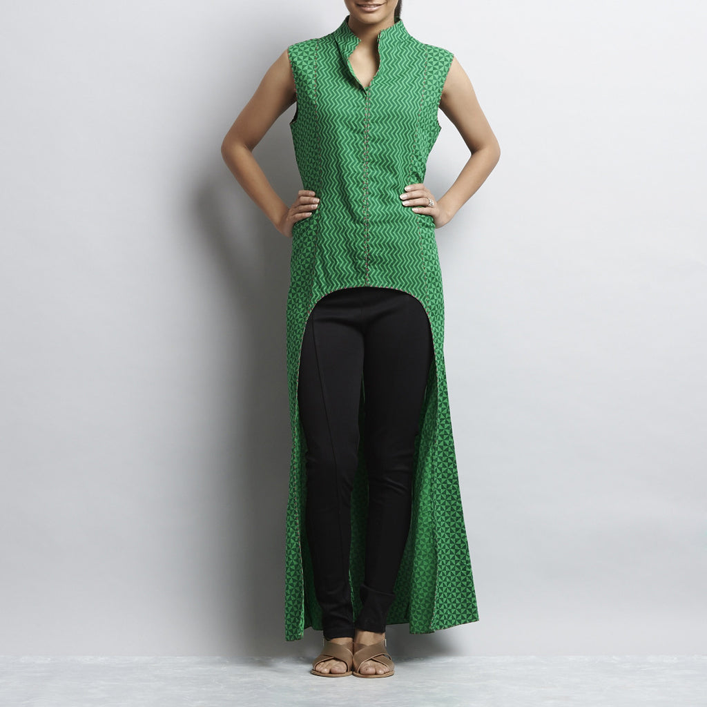 Green Crop Cut Button Down Front Open Long Cotton Tunic by Shilpa Madaan