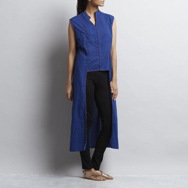 Blue Crop Cut Button Down Front Open Long Cotton Tunic